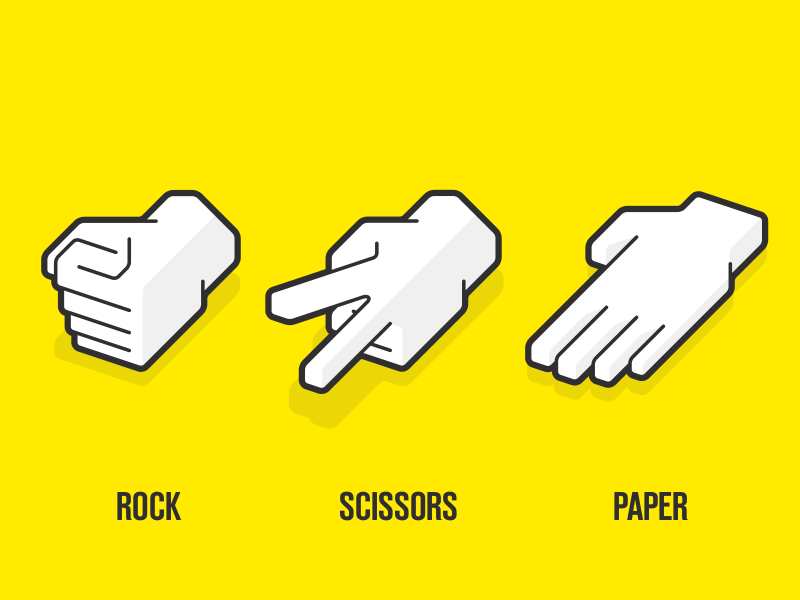 Rock, paper, scissors illustration