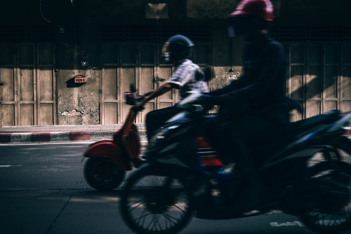 Motorbikes on street in Chiang Mai